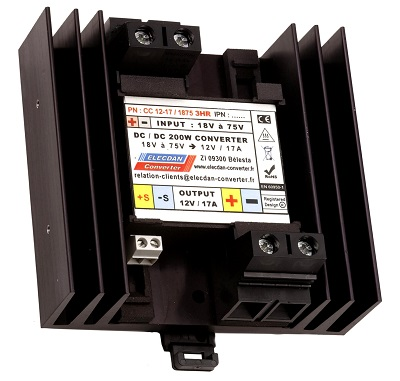 200W dcdc converter - input 18 to 75V - mounting on dinrail or wall 3HR