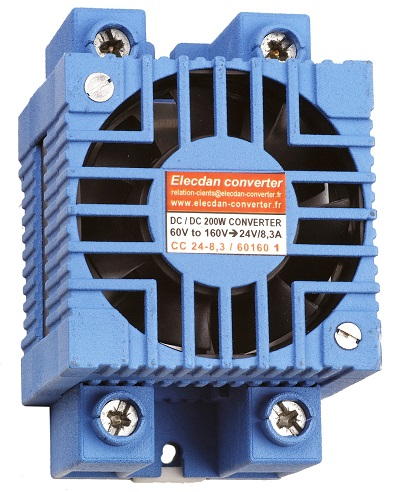 200W dcdc converter with fan - input 60 to 160V - mounting on dinrail or wall 1