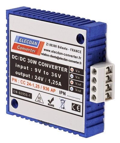 30W dcdc converter with very large input range - mounting on wall AP