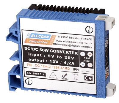 50W dcdc converter with very large input range - mounting on dinrail or wall A1RD