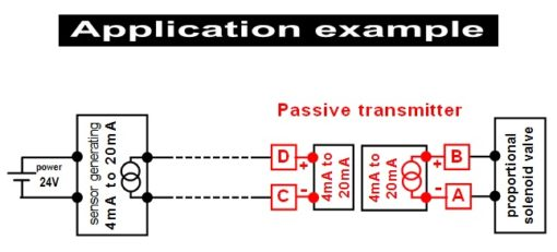 Example of application - self powered current/current signal converter - 4-20mA into 4-20mA