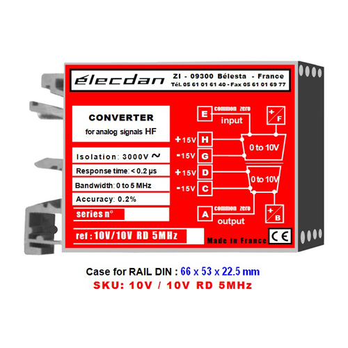 Mounting on DIN rail - voltage converter for high frequency