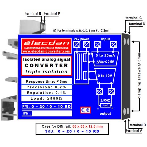 Current-voltage converter: 0 to 20mA into 0 to 10V - for DIN rail