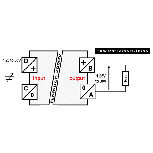 Connections for Voltage-voltage transmitter, isolated converter: 1.25V to 30V into isolated 1.25V to 30V