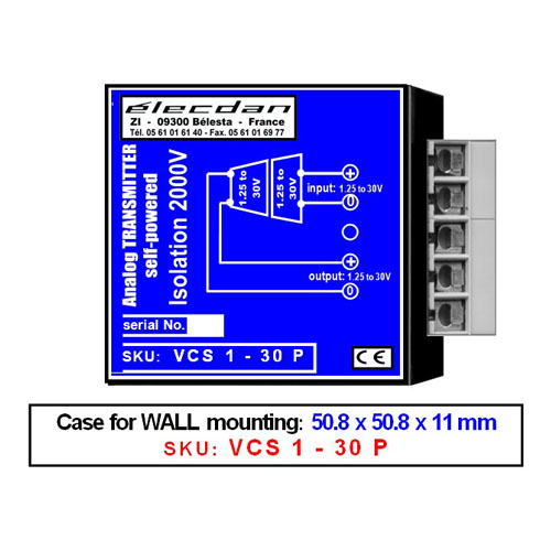 Wall mounted Voltage-voltage transmitter, isolated converter: 1.25V to 30V into isolated 1.25V to 30V