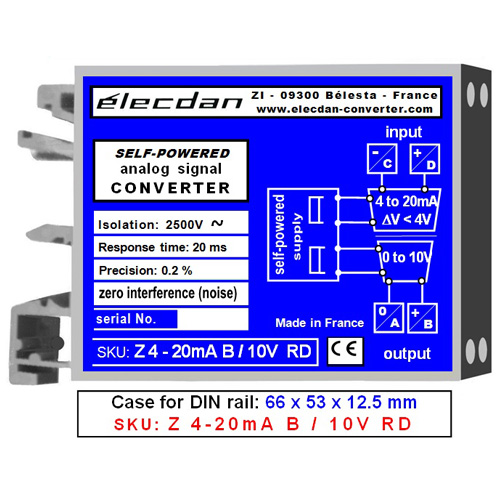 Mounting on DIN rail - self-powered converter - 4 to 20mA into 0 to 10V