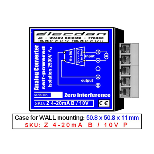 Wall mounting - self-powered converter - 4 to 20mA into 0 to 10V