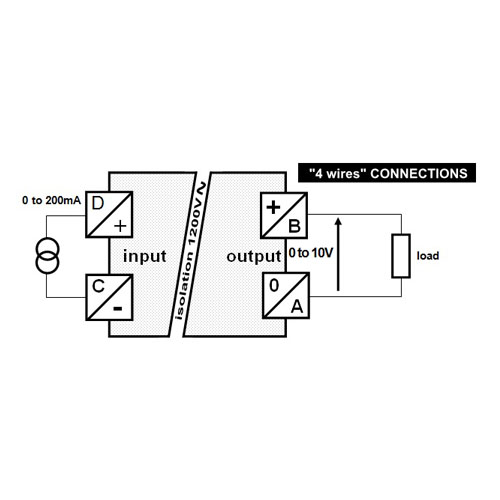Connections - self-powered isolated converter - 0 to 200mA into 0 to 10V