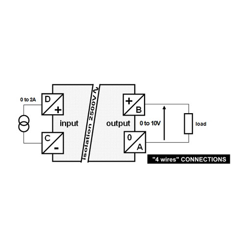 Connections diagram - self-powered converter - 0 to 2A into 0 to 10V