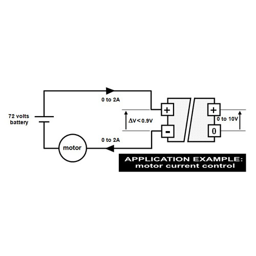 Example of application, to control motor current - self-powered converter - 0 to 2A into 0 to 10V