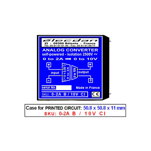 Mounting on PCB - self-powered isolated converter - 0 to 2A into 0 to 10V