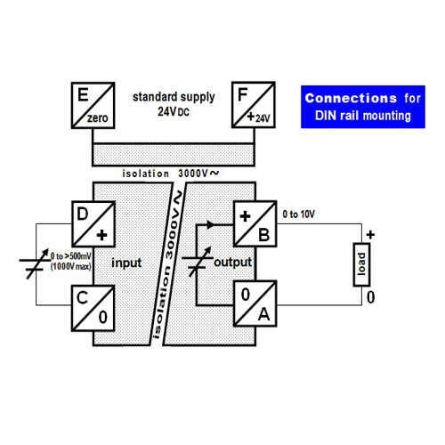 Connections - non-standard isolated converter - 0 to non-standard voltage into 0 to 10V
