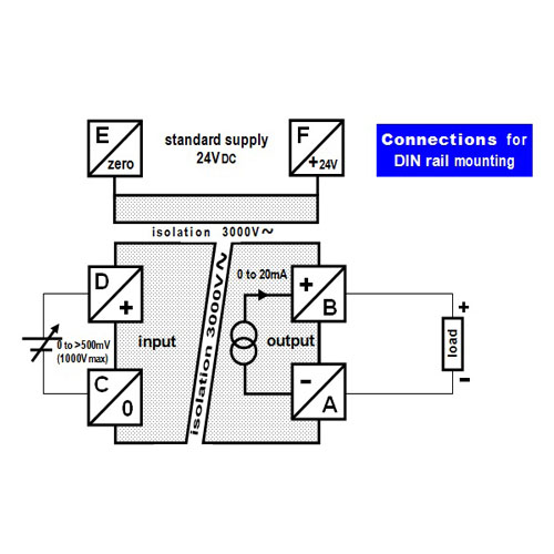 Connections - isolated converter - 0 to non-standard voltage into 0 to 20mA