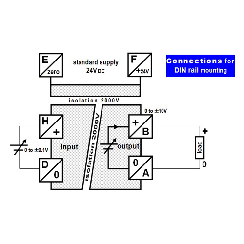 Connections for the DIN rail mounted case - Isolated analog signal converter: low voltage-voltage
