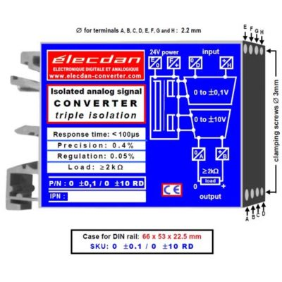 Mounting on DIN rail - Isolated analog signal converter: low voltage-voltage